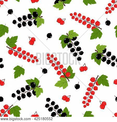 Seamless Pattern Of Black And Red Currants, Vector Illustration Of A Bunch Of Berries.