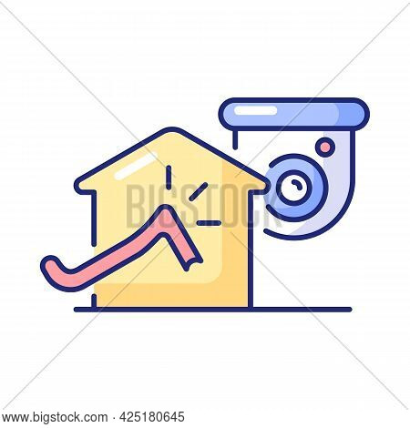 Avoiding House Intrusion With Cctv System Rgb Color Icon. Isolated Vector Illustration. Burglaries P