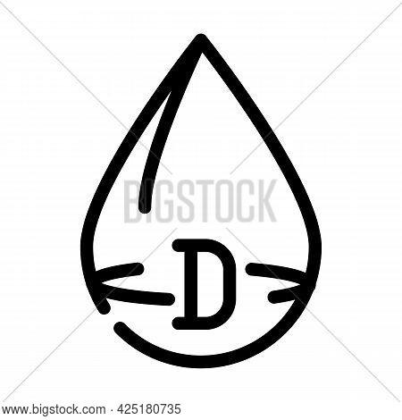 Vitamin D Drop Line Icon Vector. Vitamin D Drop Sign. Isolated Contour Symbol Black Illustration