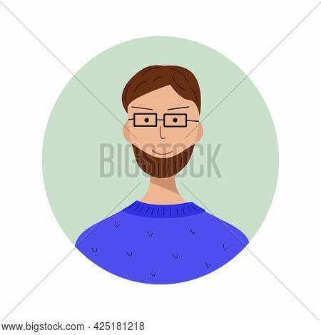 Man With A Beard And Glasses Porter Character For The Avatar. Trendy Style Illustration For Icon, Av