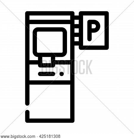 Electronic Machine For Buy Ticket Of Parking Line Icon Vector. Electronic Machine For Buy Ticket Of