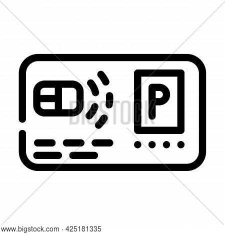 Pass Card Parking Line Icon Vector. Pass Card Parking Sign. Isolated Contour Symbol Black Illustrati