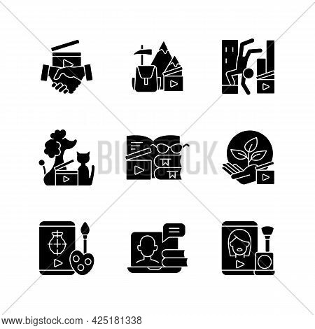 Video Content Black Glyph Icons Set On White Space. Business To Business Service. Entertainment Cont