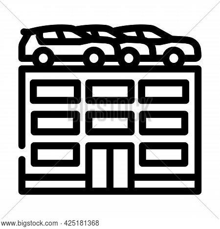 Building Car Parking Line Icon Vector. Building Car Parking Sign. Isolated Contour Symbol Black Illu