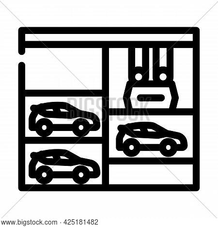 Lift In Multi Level Parking Line Icon Vector. Lift In Multi Level Parking Sign. Isolated Contour Sym