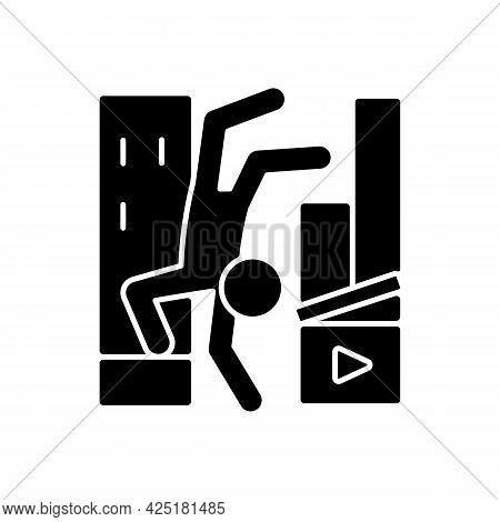 Parkour Videos Black Glyph Icon. Shooting Footage For Action Motion Picture. Filmmaking On Extreme F