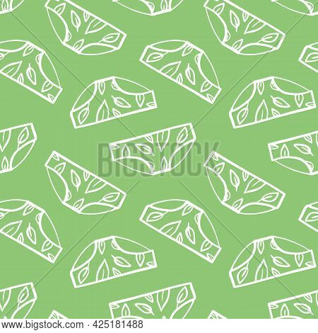 Cute Doodle Panties, Women's Underwear With Leaves Green Vector Seamless Pattern Background.