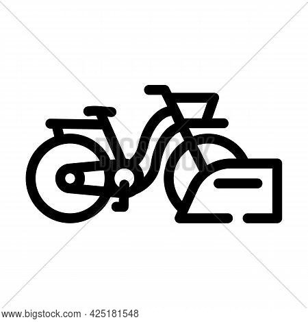 Bicycle Parking Line Icon Vector. Bicycle Parking Sign. Isolated Contour Symbol Black Illustration