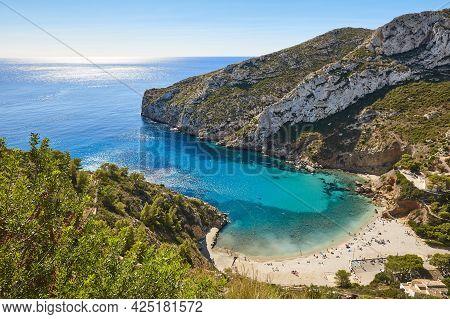 Spanish Mediterranean Sunny Scenic Coastline. La Granadella Beach. Alicante, Valencia