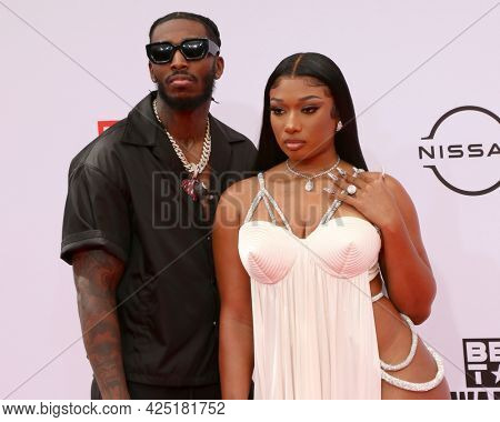 LOS ANGELES - JUN 27:  Megan Thee Stallion, guest at the BET Awards 2021 Arrivals at the Microsoft Theater on June 27, 2021 in Los Angeles, CA