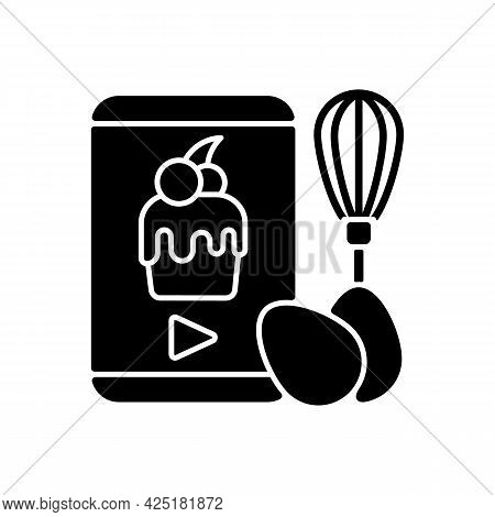 Cooking Video Black Glyph Icon. Culinary Courses Online. Cookery School For Learning Remotely. Prepa