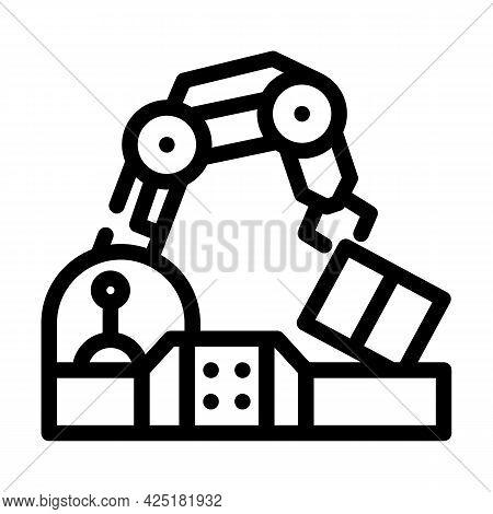 Robotic Arm Conveyor Production Line Icon Vector. Robotic Arm Conveyor Production Sign. Isolated Con