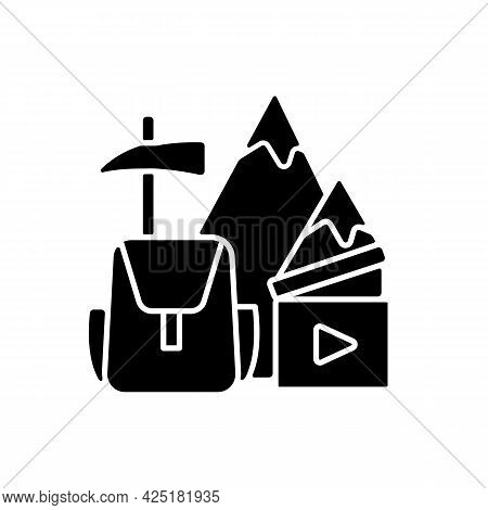 Travel Videography Black Glyph Icon. Shooting Footage For Traveler Blog. Recording Adventures For Fi
