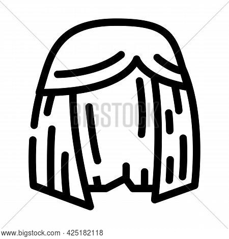 Wig Or Hairstyle Stylist Line Icon Vector. Wig Or Hairstyle Stylist Sign. Isolated Contour Symbol Bl
