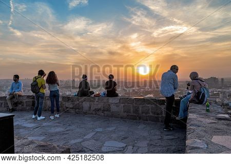 Ankara, Turkey - September 12, 2020: Unidentified People Watch The Autumn Sunset From The Walls Of T