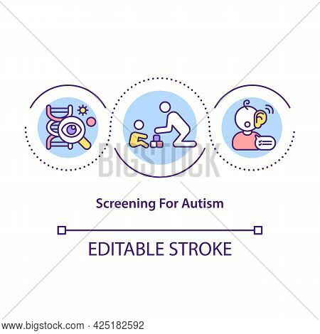 Screening For Autism Concept Icon. Diagnosing Communicational And Interactional Disorder. Health Pro