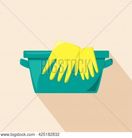 Cleaning Basin Gloves Icon. Flat Illustration Of Cleaning Basin Gloves Vector Icon