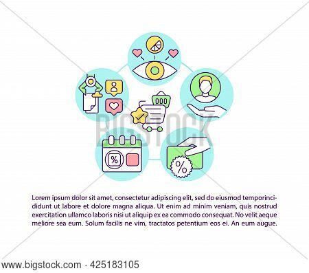 Purchase Leads To Loyalty Concept Line Icons With Text. Ppt Page Vector Template With Copy Space. Br