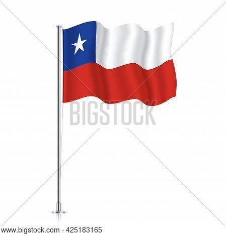 Chile Flag Waving On A Metallic Pole.