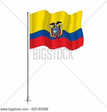 Ecuador Flag Waving On A Metallic Pole.