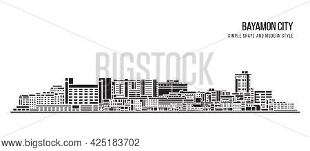 Cityscape Building Abstract Simple Shape And Modern Style Art Vector Design - Bayamon City