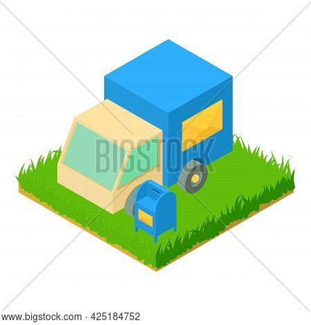 Post Delivery Icon Isometric Vector. Postal Car Near Mailbox. Postal Service