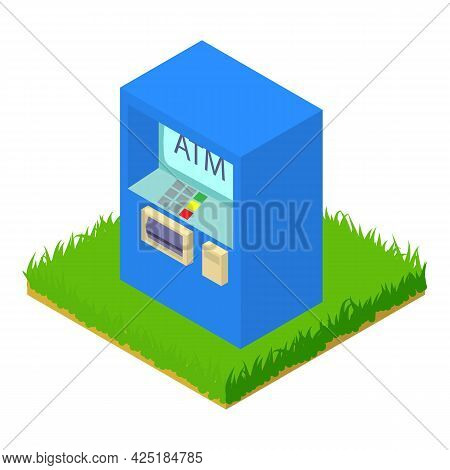 Atm Machine Icon Isometric Vector. Cash Withdrawal. Banking Service