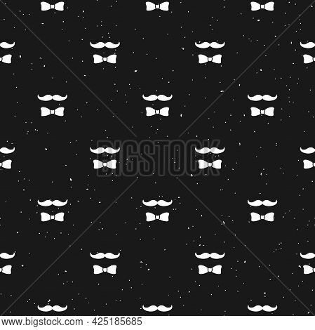 Seamless Pattern With Gentleman On Black Background. Silhouette Of Man's Head, Moustache And Bow Tie
