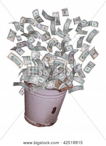 Dollars Flying Out Of Old Bucket