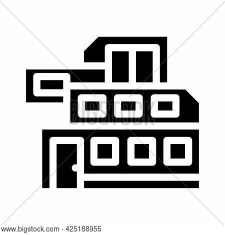 Modern House Building Glyph Icon Vector. Modern House Building Sign. Isolated Contour Symbol Black I