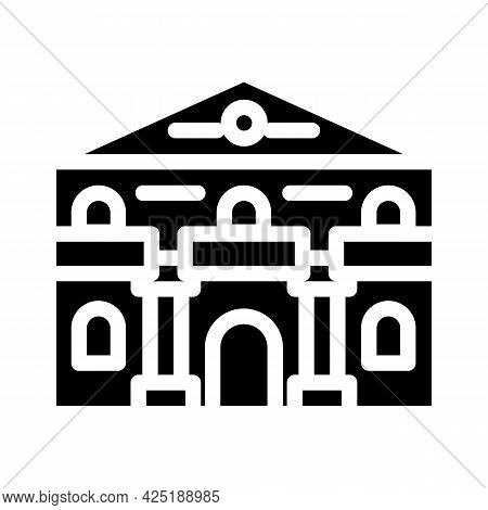 Ancient House Glyph Icon Vector. Ancient House Sign. Isolated Contour Symbol Black Illustration