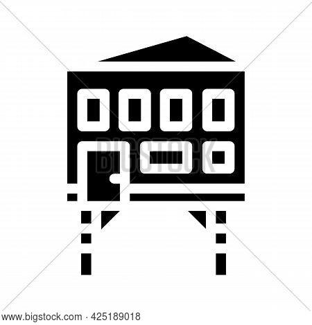 Stilt House Glyph Icon Vector. Stilt House Sign. Isolated Contour Symbol Black Illustration