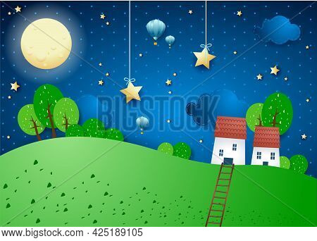 Fantasy Landscape With Full Moon, Village And Stairway. Vector Illustration Eps10