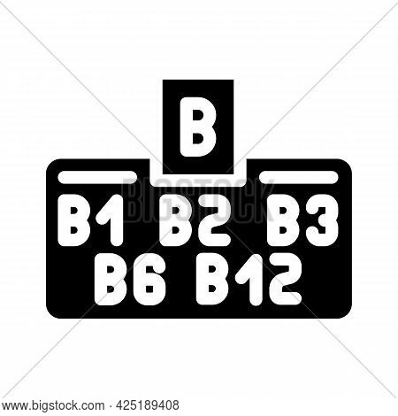 Vitamin B Group Glyph Icon Vector. Vitamin B Group Sign. Isolated Contour Symbol Black Illustration