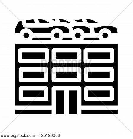 Building Car Parking Glyph Icon Vector. Building Car Parking Sign. Isolated Contour Symbol Black Ill