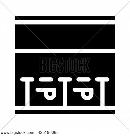 Parking Places On Road Glyph Icon Vector. Parking Places On Road Sign. Isolated Contour Symbol Black