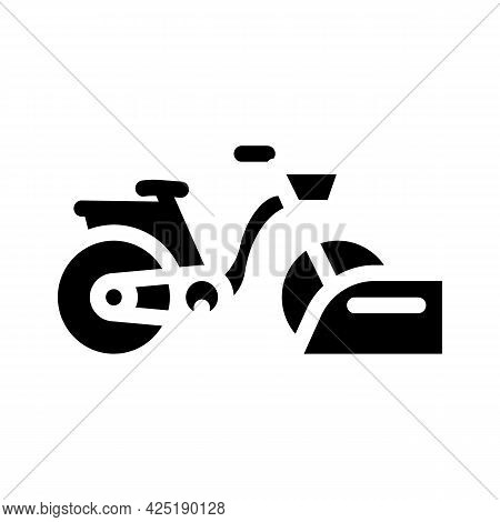 Bicycle Parking Glyph Icon Vector. Bicycle Parking Sign. Isolated Contour Symbol Black Illustration