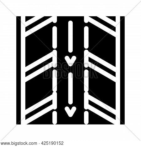 Direction Arrows On Parking Glyph Icon Vector. Direction Arrows On Parking Sign. Isolated Contour Sy