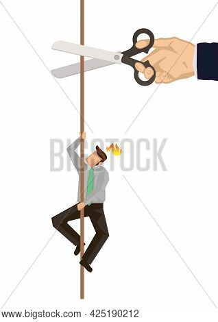 Businessman Climbing On Rope While A Giant Hand With Scissors Cutting The Rope. Concept Of Sabotage.