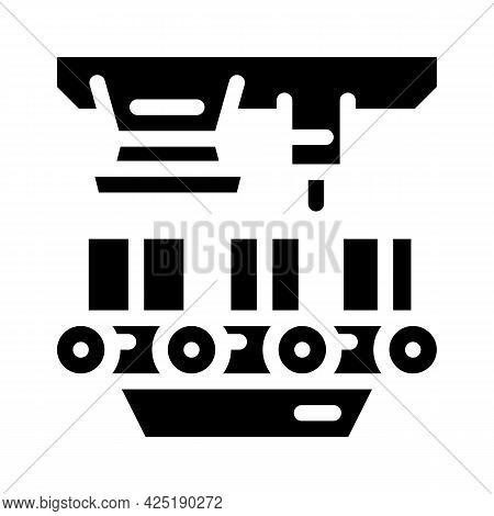 Factory Conveyor Production Glyph Icon Vector. Factory Conveyor Production Sign. Isolated Contour Sy