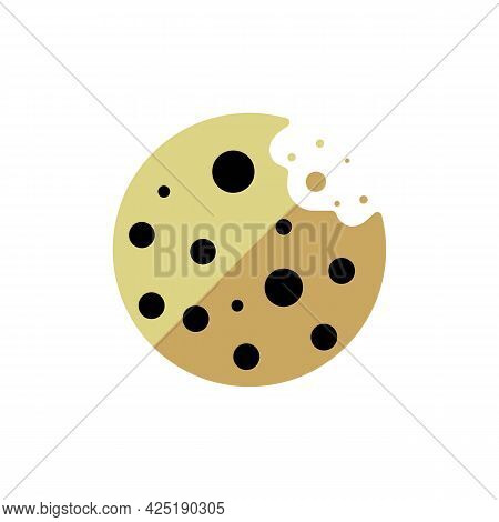 Simple Browser Cookie Thin Line Icon In Color. Symbol Of Round Chocolate Cookie. Isolated On White.