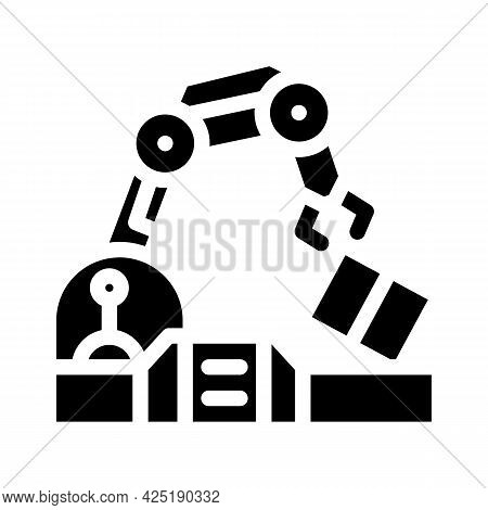 Robotic Arm Conveyor Production Glyph Icon Vector. Robotic Arm Conveyor Production Sign. Isolated Co