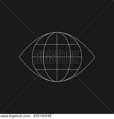Retrofuturistic Planet Inside The Eye. Cyberpunk Of 80s Geometry. Digital Shape. World Conspiracy Co