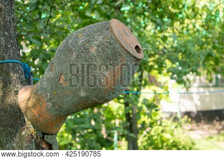 Old Clay Jug On A Tree Branch, Ukrainian Village. A Pot In The Countryside. Antique Traditional Hand