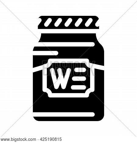Bottle Jar Wasabi Glyph Icon Vector. Bottle Jar Wasabi Sign. Isolated Contour Symbol Black Illustrat