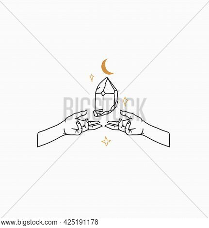 Hand Drawn Vector Abstract Stock Flat Graphic Illustration With Logo Element, Bohemian Magic Line Ar