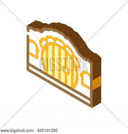 House With Round Door Isometric Icon Vector. House With Round Door Sign. Isolated Symbol Illustratio