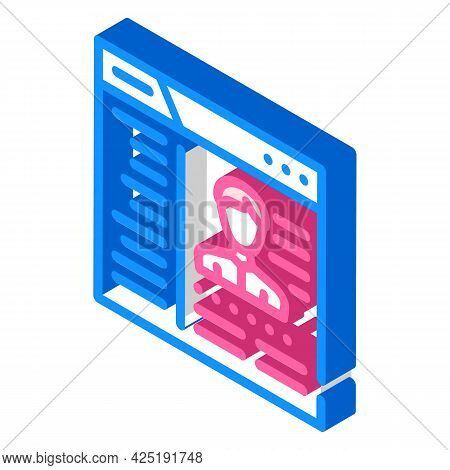 Cms With Data Kyc Isometric Icon Vector. Cms With Data Kyc Sign. Isolated Symbol Illustration