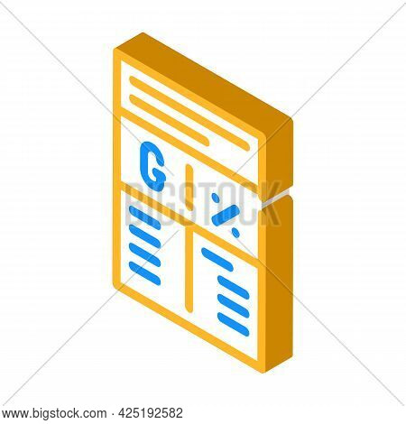 Ratio In Grams And Percent Isometric Icon Vector. Ratio In Grams And Percent Sign. Isolated Symbol I
