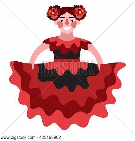Happy Flamenco Dancer Girl In Traditional Dress Vector Illustration. A Stylized Modern Person Dancin